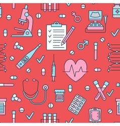 Seamless pattern medical icons clinic vector