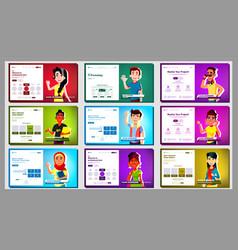 Self presentation banner set multiracial vector