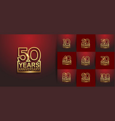 Set anniversary logo style with golden outline vector