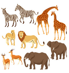 set of african savanna animals vector image