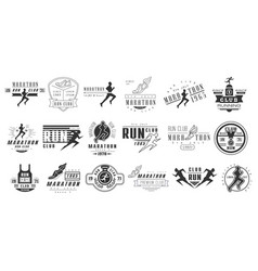 Set of monochrome logos for marathon or run vector