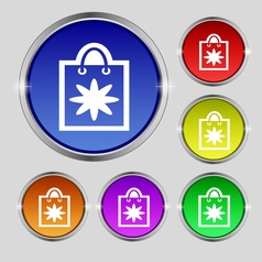 shopping bag icon sign Round symbol on bright vector image