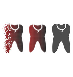 Shredded pixelated halftone caries tooth icon vector