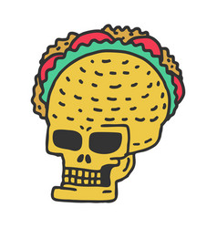 skull taco drawning mexican skeleton head with vector image