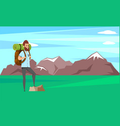 smiling man with beard standing on rock climber vector image