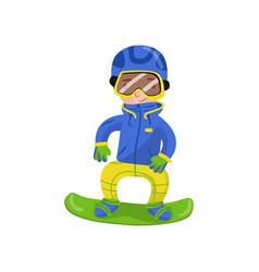 snowboarding boy winter outdoor activity cartoon vector image