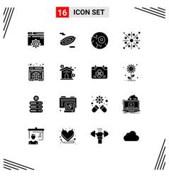 Solid glyph pack 16 universal symbols globe vector