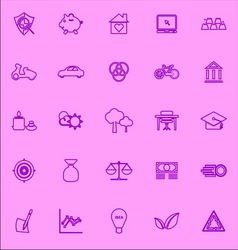 Sufficient economy violet line icons vector image