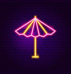 sun parasol neon label vector image