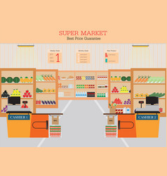 Supermarket with fresh food on shelves vector