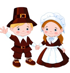 Thanksgiving day pilgrim couple vector