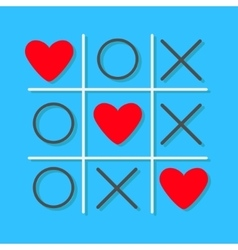 Tic tac toe game cross and three red heart sign vector