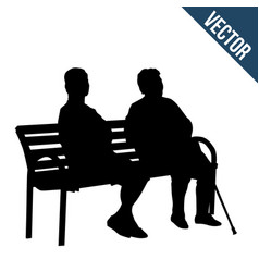 Two elderly woman silhouettes sitting on a bench vector
