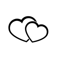 two hearts line icon on white background vector image