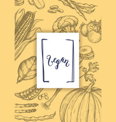 Vegan food hand drawn poster vector