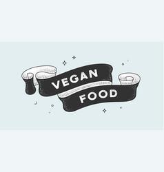 vegan food vintage ribbon vector image