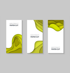 vertical flyers with yellow color paper cut waves vector image