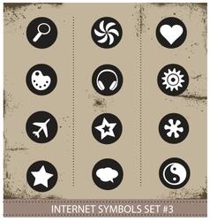 Web internet symbols set grunge style vector image