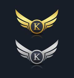 Wings shield letter k logo template vector