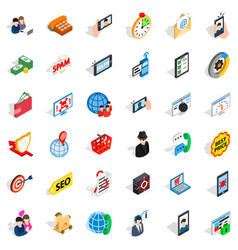 Wireless telecom icons set isometric style vector
