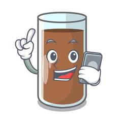 With phone pouring chocolate milk from bottle vector