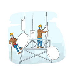 Workers character wearing uniform and hard hats vector
