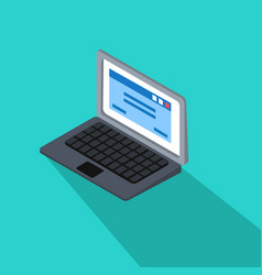 3d laptop with blue tab screen on blue vector image vector image