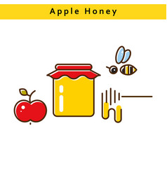 apple honey colored line icons vector image vector image