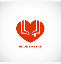 book lovers abstract sign emblem or logo vector image