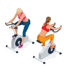 Fitness woman working out on exercise bike at the vector