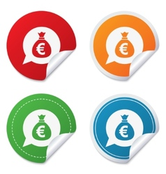 Money bag sign icon Euro EUR currency vector image vector image
