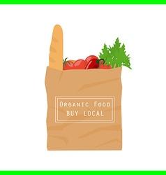 organic food paper bag vector image vector image
