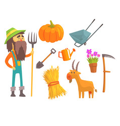 professional farmer and his tools man and his vector image
