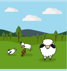 sheep jumping over a fence in a grassy field vector image vector image