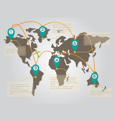 world map infographic with point symbol and text b vector image vector image