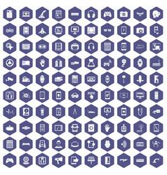 100 adjustment icons hexagon purple vector