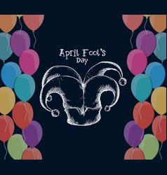 april fools day hat joker balloons vector image vector image