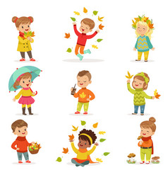 autumn children s outdoor seasonal activities set vector image