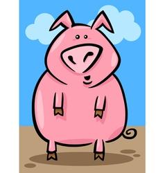 cartoon of farm pig vector image vector image