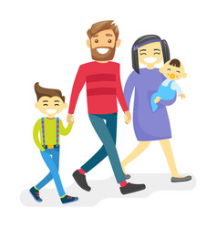 cheerful multiethnic diverse family with happy vector image vector image
