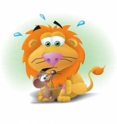 lion and mouse vector image vector image