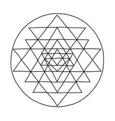 sacred geometry and alchemy symbol sri yantra vector image