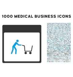 Shopping Cart Calendar Page Icon With 1000 Medical vector image vector image