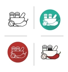 Spices flat design linear and color icons set vector image vector image