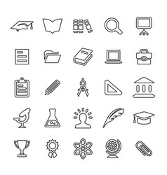 25 outline universal education icons vector image