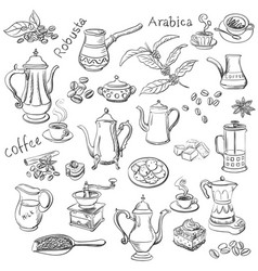 coffee collection - hand drawn vector image