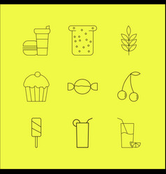 Food and drink linear icon set vector