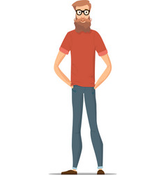 funny bearded hipster isolated on white character vector image vector image