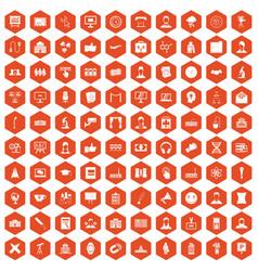 100 conference icons hexagon orange vector