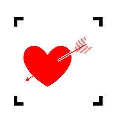 arrow heart sign red icon inside black vector image vector image